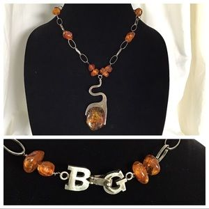 Mid Century Billy Gomez Sterling Amber Necklace